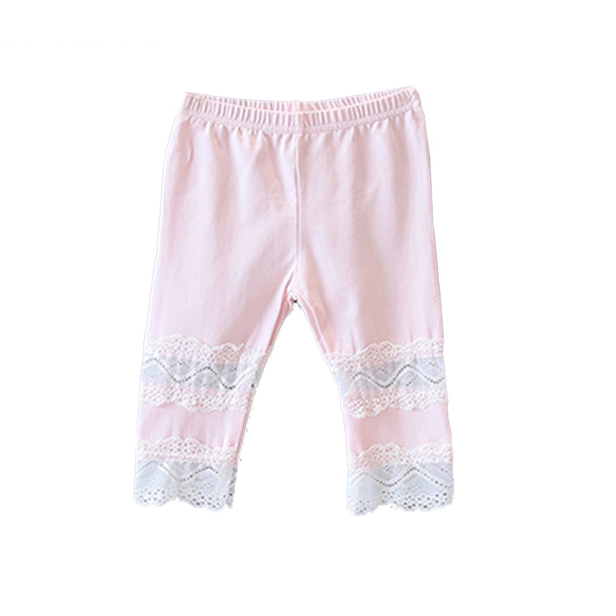 Ding-dong Kid Girl Summer Candy Color Lace Cropped Leggings