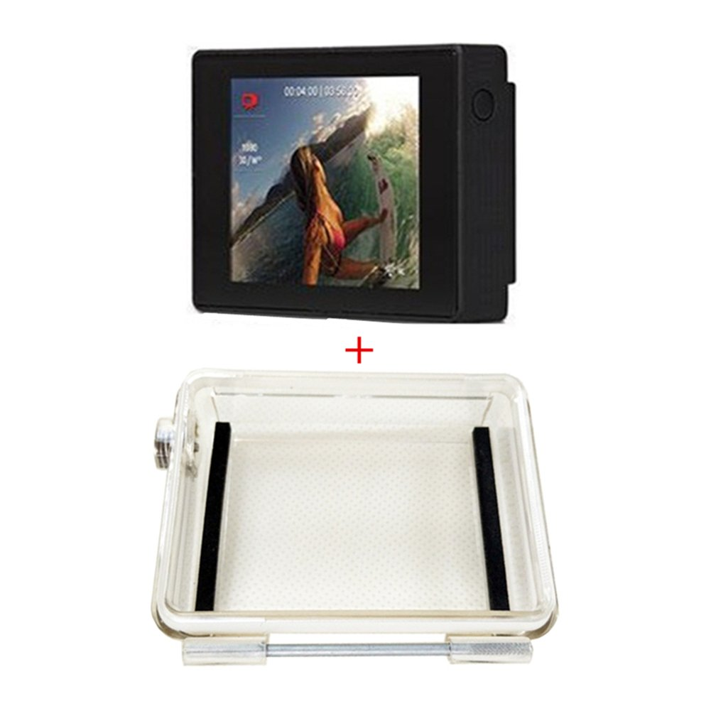 JEERUI LCD Screen + Thickening Waterproof Backdoor For GoPro Hero 4/3 Plus