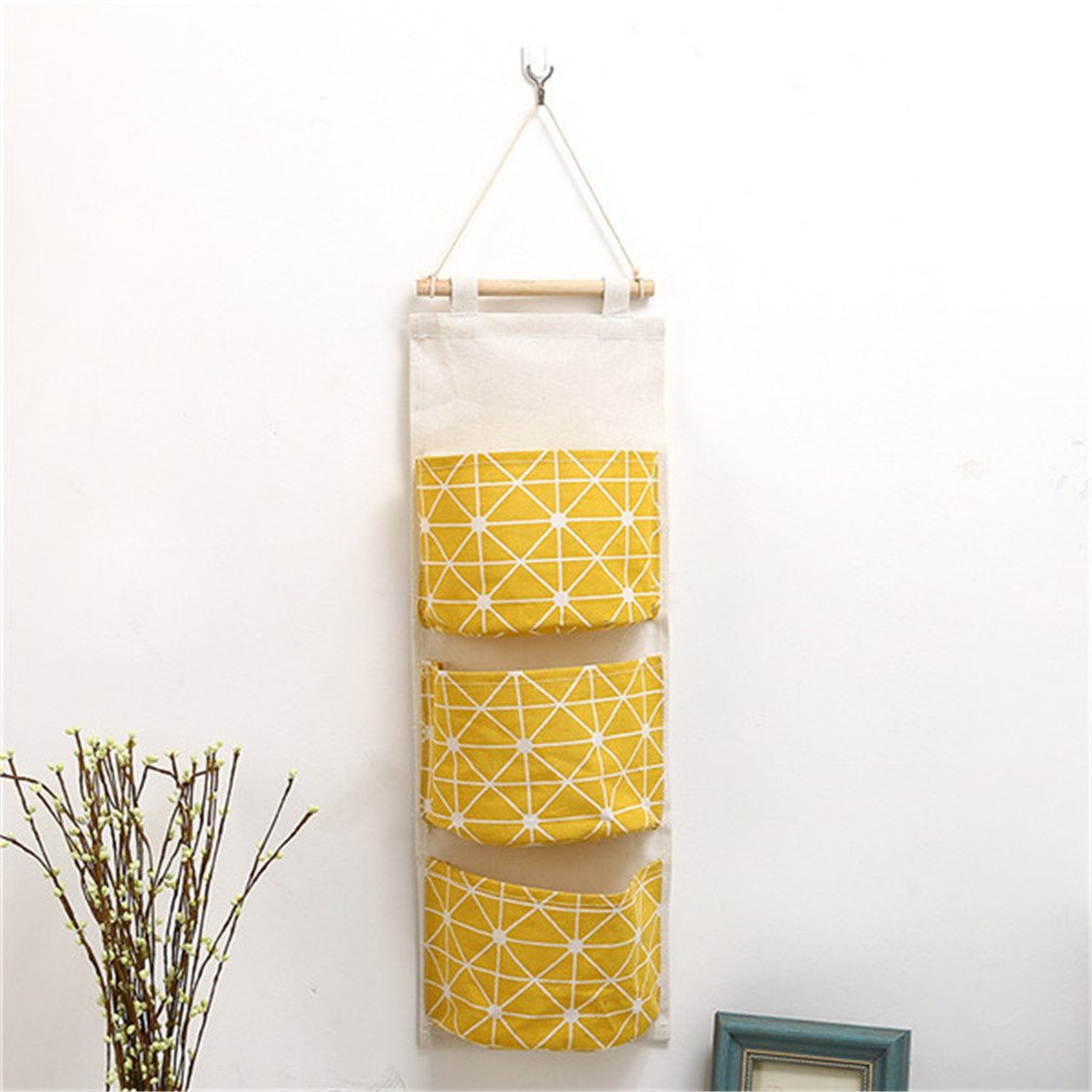 KIEJDH Cute Wall Sundry Cotton Line Hanging Organizer Bag Multi-Layer Holder Makeup Rack Jewelry Storage Box Basket Yellow 14 20 cm
