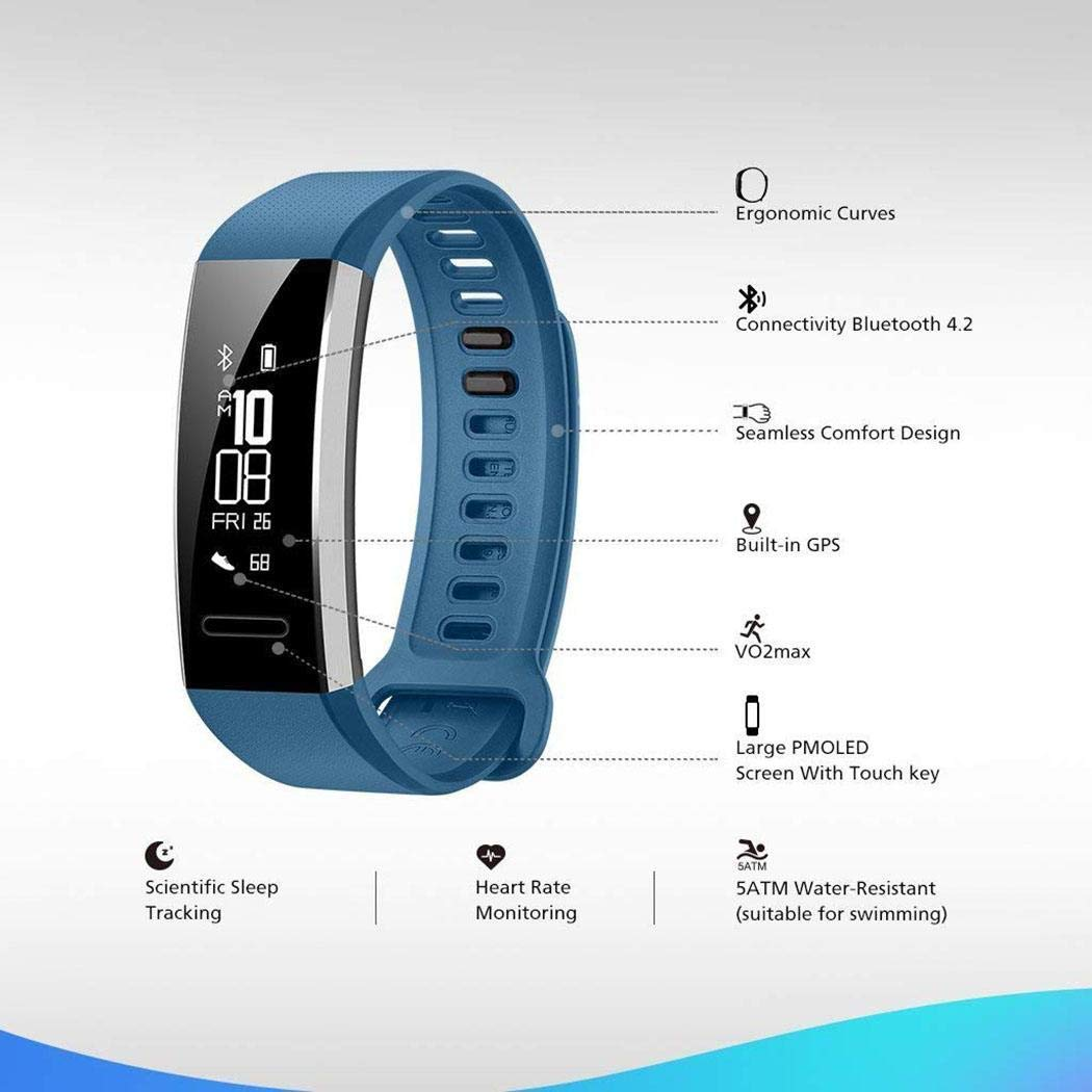 erholi Smart Wristband with Heart Rate Monitor/Sleep Quality Monitor/Steps Counter/GPS Tracker and More, Smart Wristband Watch for Android and iOS Clips, Arm & Wristbands