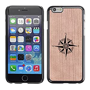 Funda Cubierta Madera de cereza Duro PC Teléfono Estuche / Hard Case for Apple Iphone 6 Plus 5.5 / Phone Case TECELL Store / Norte de compás de navegación con clase Compass North Navigation Classy