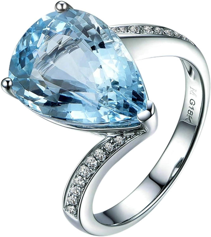 Bishilin Oro Blanco 18K Anillo de Mujer Azul Claro Aguamarina Y Diamantes con Incrustaciones Anillo Brillantes Mujer Azul Plateado Anillo de Compromiso Anillo de Matrimonio