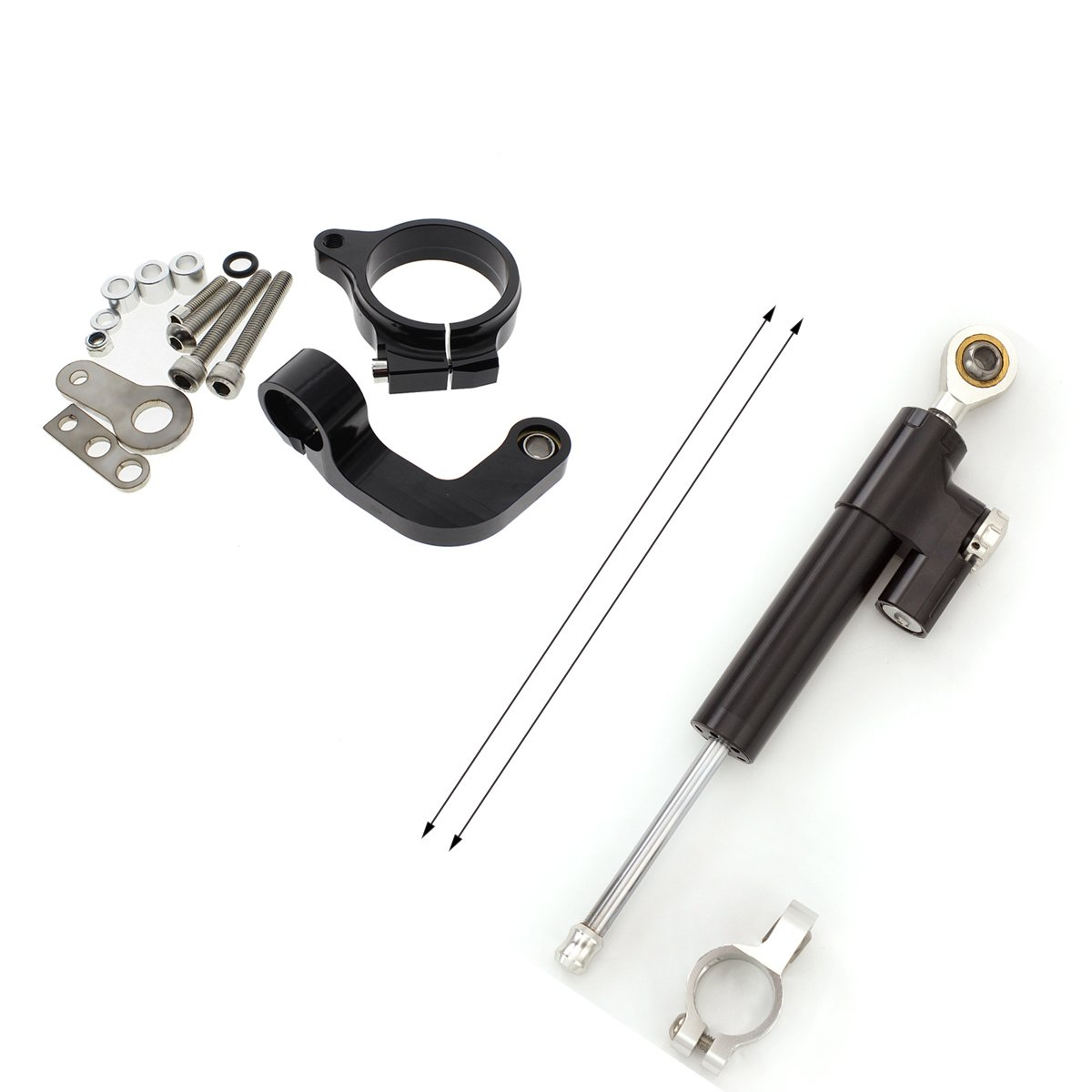 FXCNC Racing Motorcycle CNC Steering Damper Stabilizer Buffer Control Bar With Mounting Bracket Kit Full Set Fit For BMW R1200CL R1200GS 2013 2014