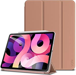 VORI Case for iPad 10.9 Case 2020 / iPad Pro 11 2018, Strong Magnetic Trifold Stand Cover with Auto Sleep/Wake [Support Pencil 2 Charging], Folio Smart Slim Shell for iPad Air 4 8th Gen, Rose Gold