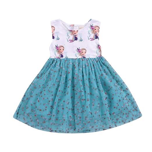 faa26826c938 Amazon.com: Toddler Baby Girl Beach Dress Cotton Mermaid Print Floral Top  Mesh Skirt Splicing Dress: Clothing