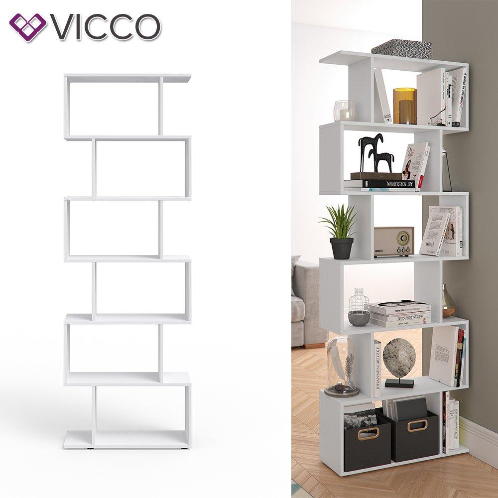Blanco Vicco Separador de ambientes LEVIO Separador de Habitaciones estanter/ía Separador Organizador con estantes estanter/ías de almacenaje Separador de Espacios