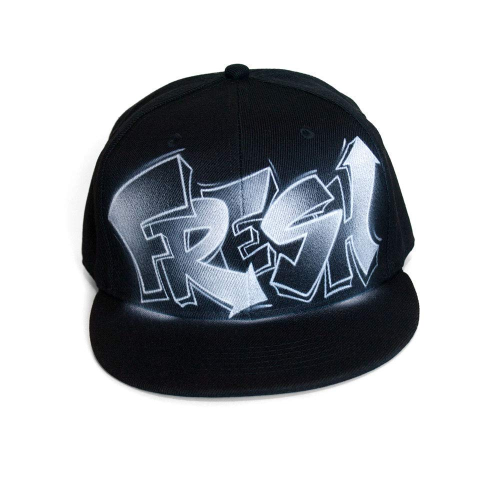 Flat bill snapback initials Personalized snapback hat Painted Snapback cap Custom airbrush black Snap back hat cap CUSTOM Snapback with your GRAFFITI painted NAME Black and white style