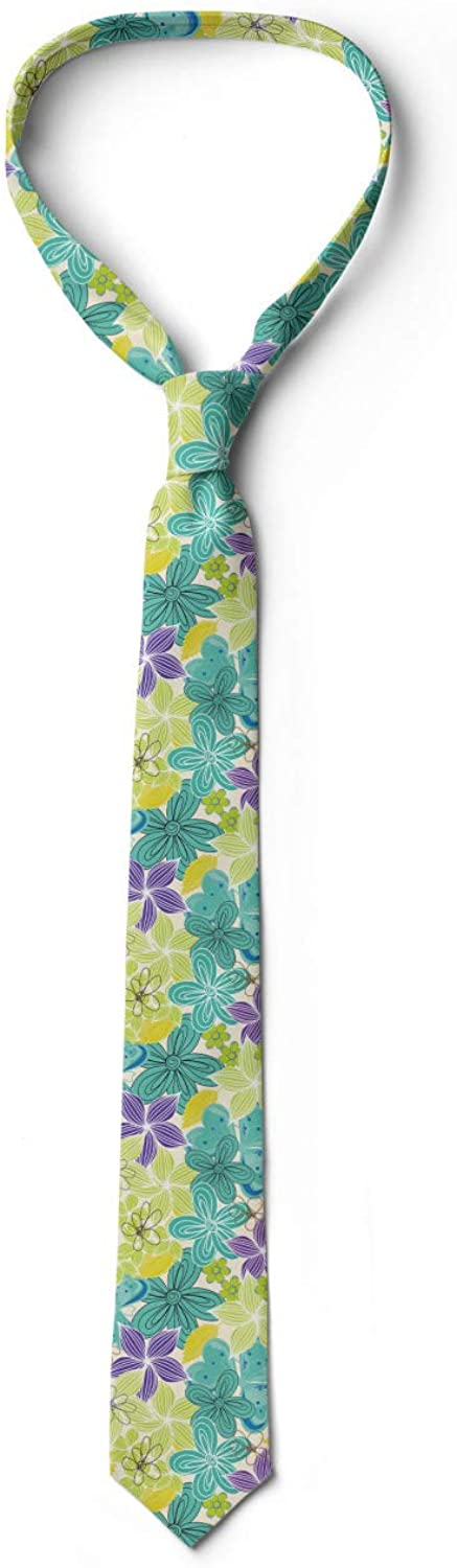 Apple Green Turquoise Lunarable Necktie 3.7 Sketched Petals Overlapping