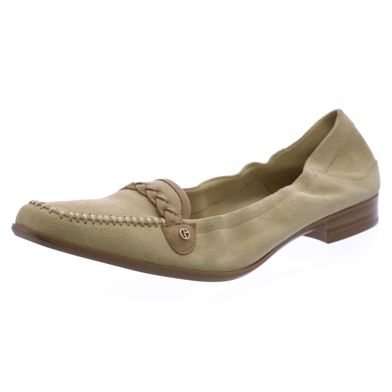 Giorgio Armani Women's Square Toe Leather Loafers 9.5 Natural
