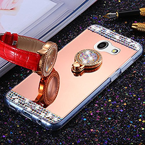 Mission Diamond (For Samsung Galaxy J3 Emerge/J3 2017/J3 Prime/J3 Mission/J3 Eclipse Case,PHEZEN Bling Diamond Rhinestone Glitter Rose Gold Mirror Back Shock Absorption Bumper TPU Protective Case with Ring Holoder)
