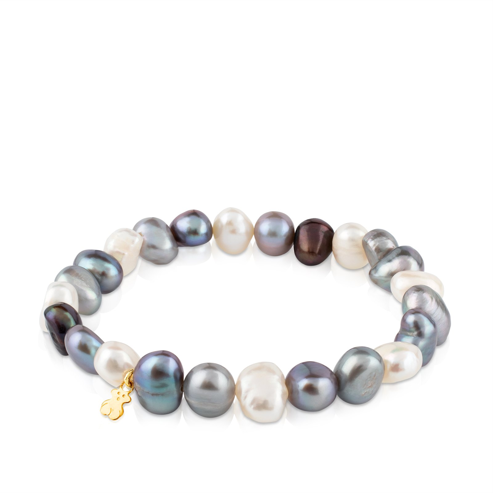 TOUS Sweet Dolls 18k Yellow Gold Stretch Bracelet with Multicolor Chinese Freshwater Cultured Pearl 7.0-7.5 mm