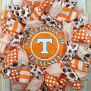 """Tennessee Volunteers Wreath for front door with deco mesh & ribbon, Vols, TU, 26"""" 77"""