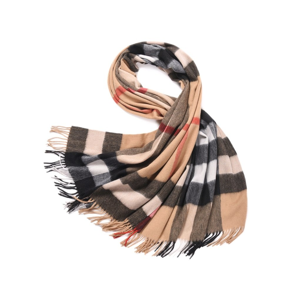 Women's Plaid Scarves 100% Lambs Wool Scarf Blanket Winter Scarf Warm Tartan Wrap Shawl Cape -LakeMono (79''x 28'', Shallow Camel Lattice)