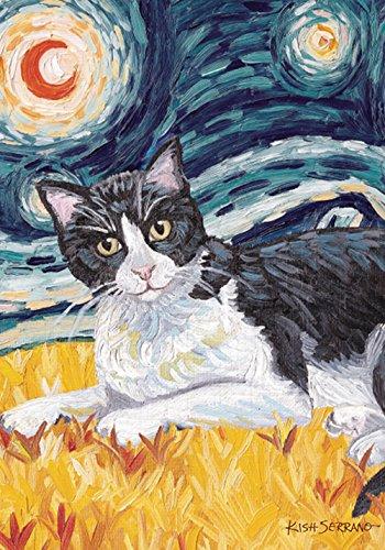 (Toland Home Garden Van Meow Tuxedo Kitty 28 x 40 Inch Decorative Colorful Starry Night Cat Portrait House)