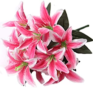 Artfen Artificial Lily 10 Heads Fake Lily Artificial Flower Wedding Party Decor Bouquet Home Hotel Office Garden Craft Art Decor Rose Red