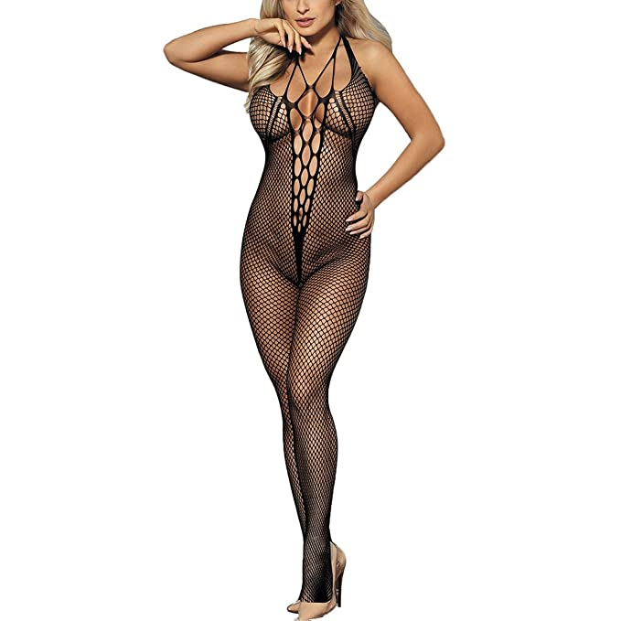ebcba3c1988 Women s Sexy Black Crotchless Bodystocking Backless Sheer Lingerie Halter  Teddy