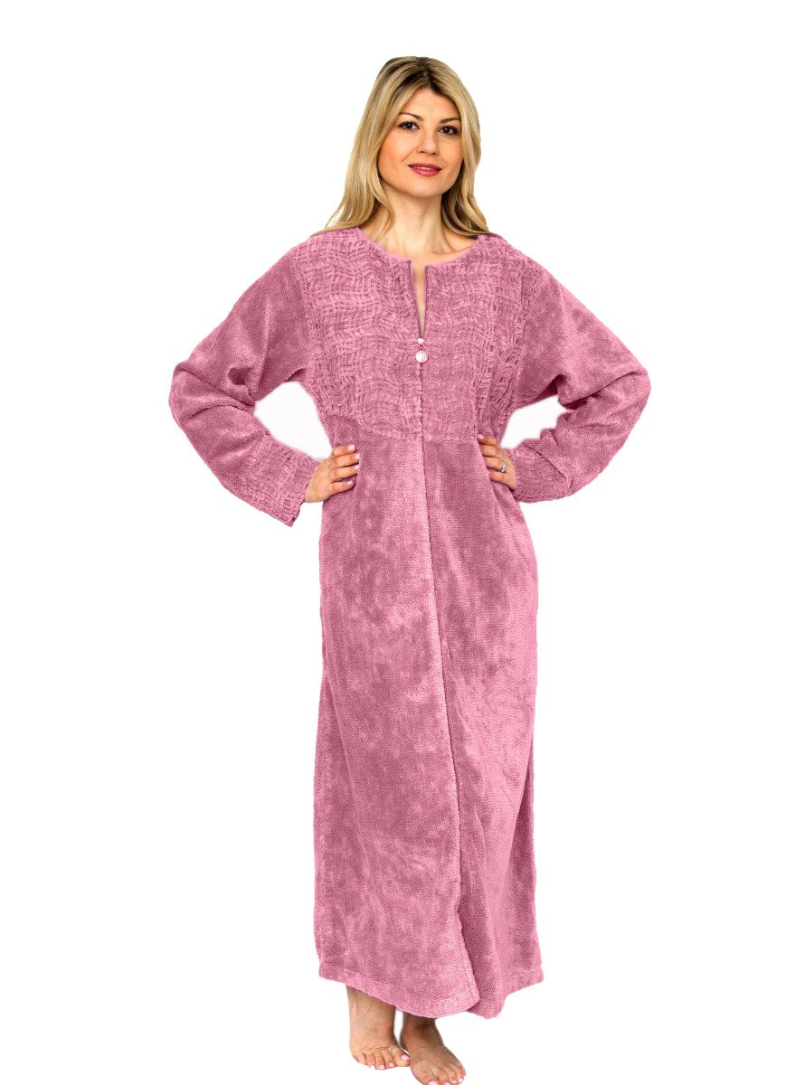 MATATA Ladies Zip Fleece Waffle Long Dressing Gown Fluffy Towelling ...