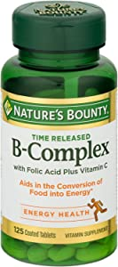 Nature's Bounty B-Complex With Folic Acid Plus Vitamin C Tablets 125 Tablets (Pack of 5)