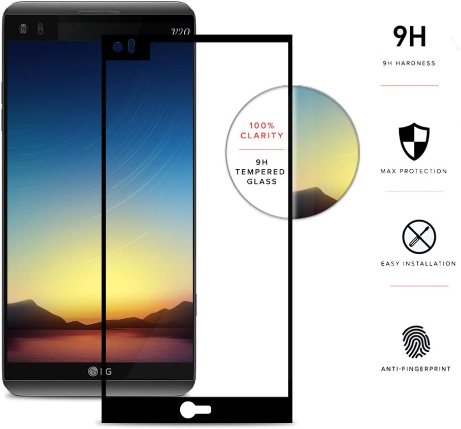 Zizo Full Glass Compatible with LG V20 Tempered Glass Screen Protector [Anti-Scratch] 9H Hardness Black