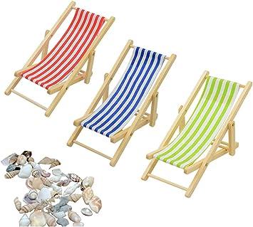 Mini Sdraio In Tela.Liuer 3pcs 1 12 Miniatura Pieghevole Spiaggia In Legno Chaise