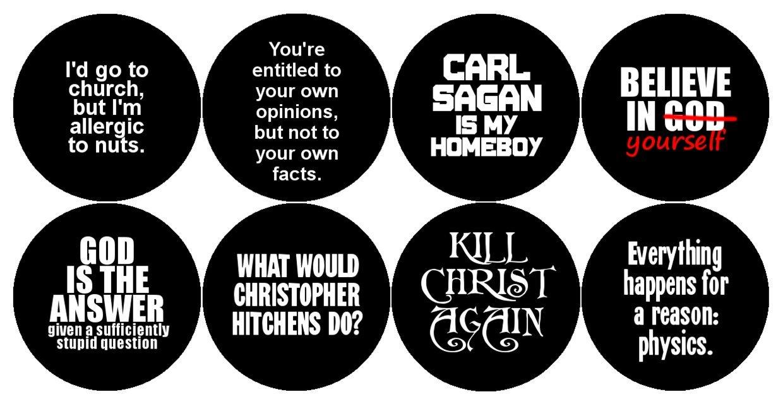 Badges Buttons Bulk Lot Atheist Christopher Hitchens Carl Sagan Atheism Science