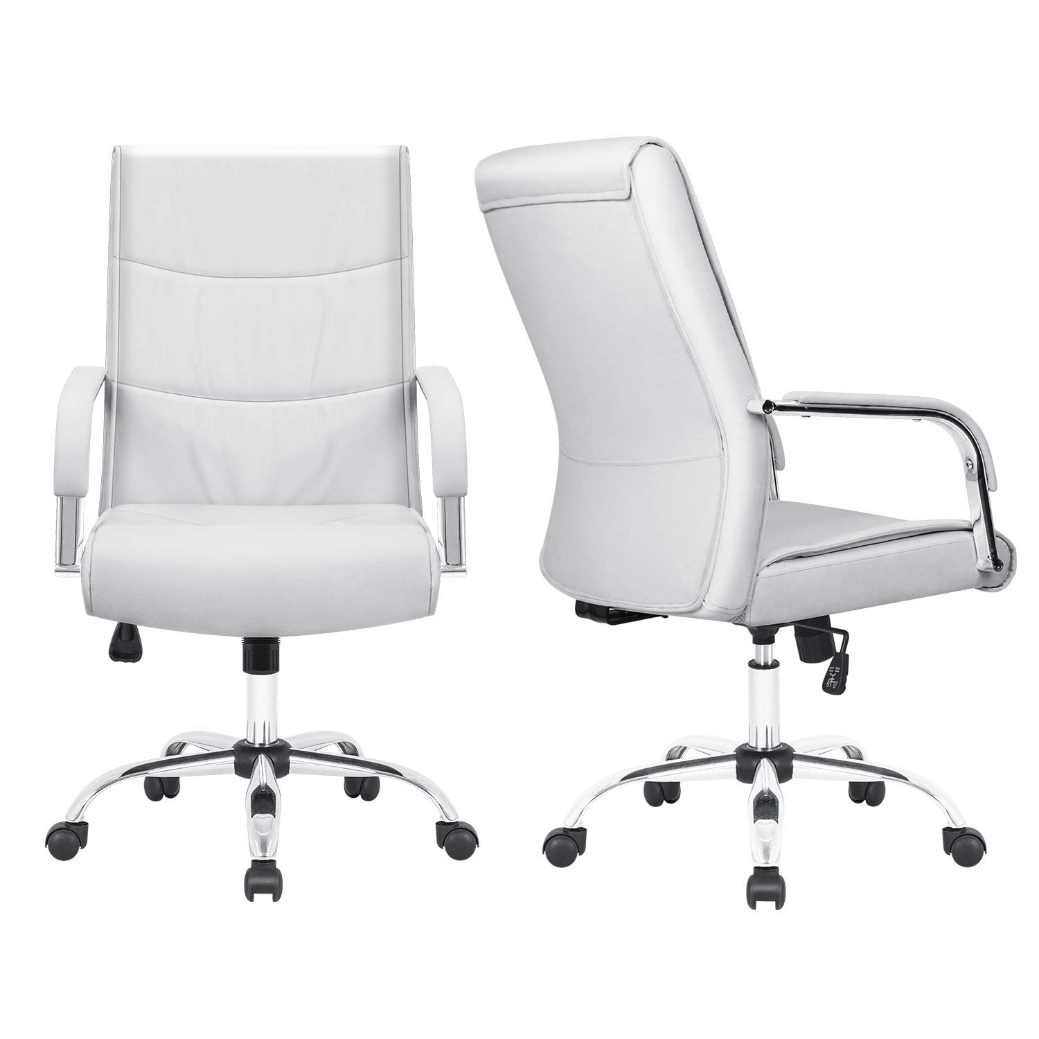 Furmax High Back Office Desk Chair Conference Leather Executive with Padded Armrests,Adjustable Ergonomic Swivel Task Chair with Lumbar Support(White) by Furmax (Image #2)