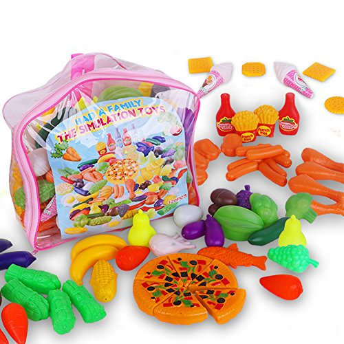 Play Food Toys 120 Pcs Including Fruits Vegetables Realistic Pretend Play Set for Kids (Food Toy Play Plastic)