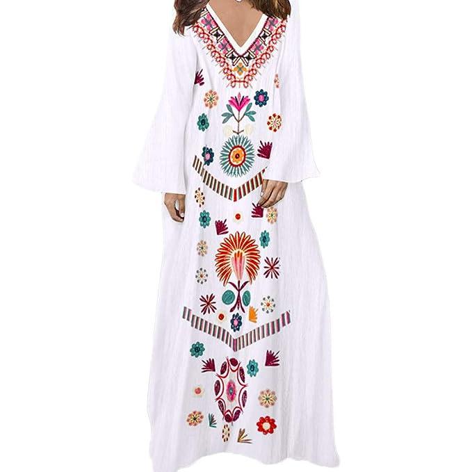 b219262d653 LISTHA Boho V-Neck Maxi Dress Women Linen Baggy Dresses Long Sleeve Kaftan  at Amazon Women's Clothing store: