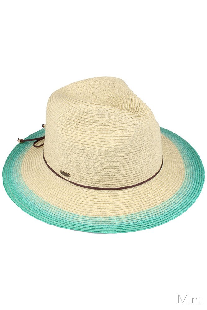 ScarvesMe C.C Tie Dyed Gradation Color Brim Natural Spring Summer Straw Beach Panama Sun Hat (Mint)