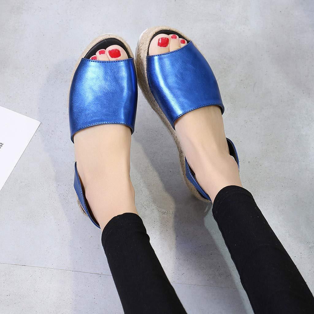 Dames de l/ét/é Femmes Plat Playform tiss/é /épais-Bas Sandales Chaussures Romaines