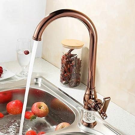Saejj Kitchen Sink Taps Gold Plated Copper Kitchen Faucet Porcelain