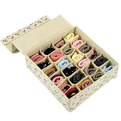 ukgood ropa interior caja de almacenaje plegable 24 cell organizadores de armario cajones cajas de almacenamiento