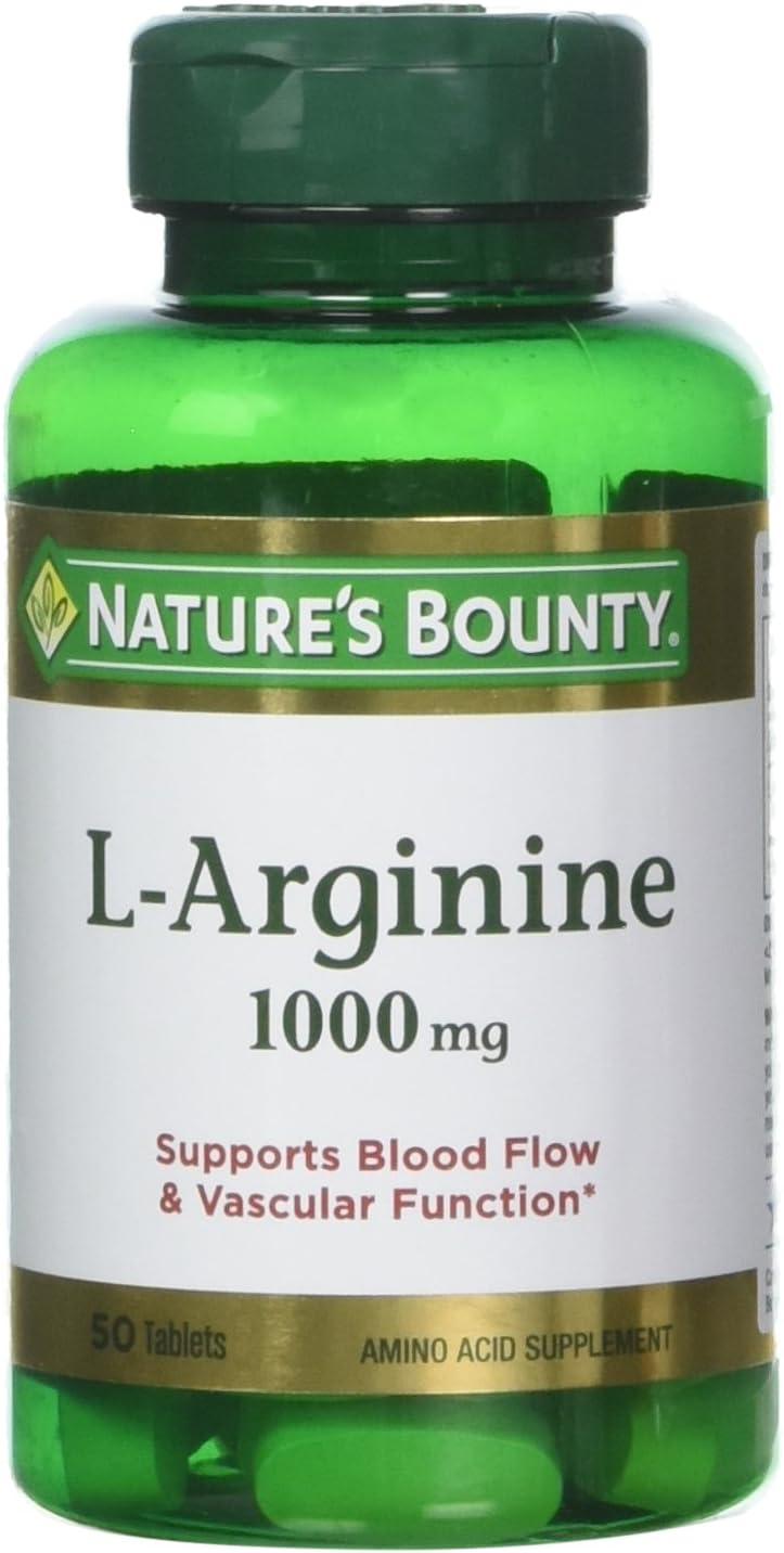 Nature s Bounty L-Arginine 1000 mg, 50 Tablets Pack of 3