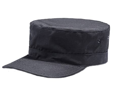LANBAOSI Hunting Cadet Army Basic Flat Top Cap Military Tactical Hats For  Men Black Small f591df71686