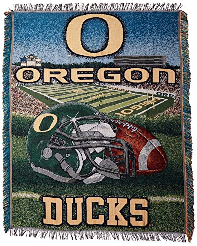 The Northwest Company Officially Licensed NCAA Oregon Ducks Home Field Advantage Woven Tapestry Throw Blanket, 48