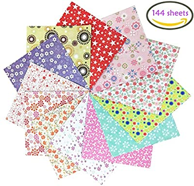 Deryun 144 Sheets Origami Paper Folding Paper 6-Inch by 6-Inch with 12 Different Colors and Patterns