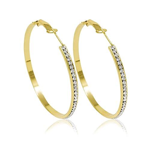 acquista per il meglio grande collezione come ottenere Inscintille Cerchi di luce Orecchini a cerchio dorati con strass - varie  misure