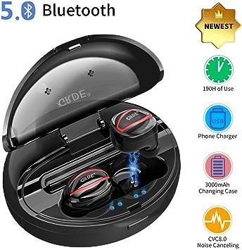Auriculares Inalambricos,Auriculares Bluetooth In Ear 5.0 Deportivos 180Hrs Tiempo Conversación con Dos HD Micrófono 3000mAh Carga CVC8.0 Reducción Ruido: Amazon.es: Electrónica