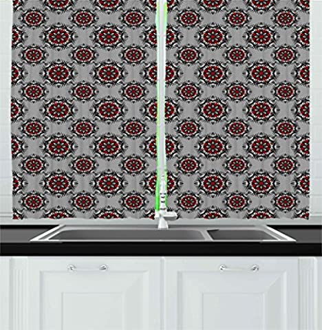 Red and Black Kitchen Curtains by Ambesonne, Persian Moroccan Middle Eastern Design with Flower Image, Window Drapes 2 Panels Set for Kitchen Cafe, 55W X 39L Inches, Light Grey White and - Multi Persian Panel