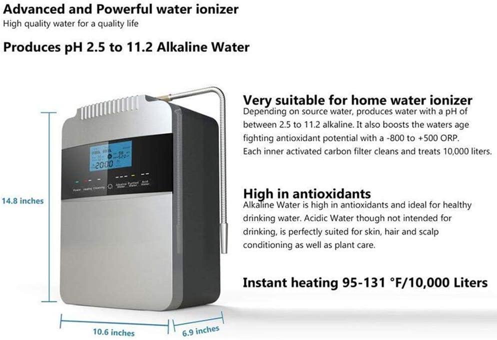 MEETGG Máquina purificadora de Agua Ionizador de Agua PH 2.5-11.2 Agua Ácida Alcalina Casa Sistema de filtración, 7 ...