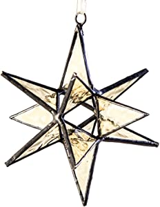 J Devlin ORN 250 Stained Glass Moravian Star Christmas Ornament or Sun Catcher Dimensional 4 1/2 x 4 1/2