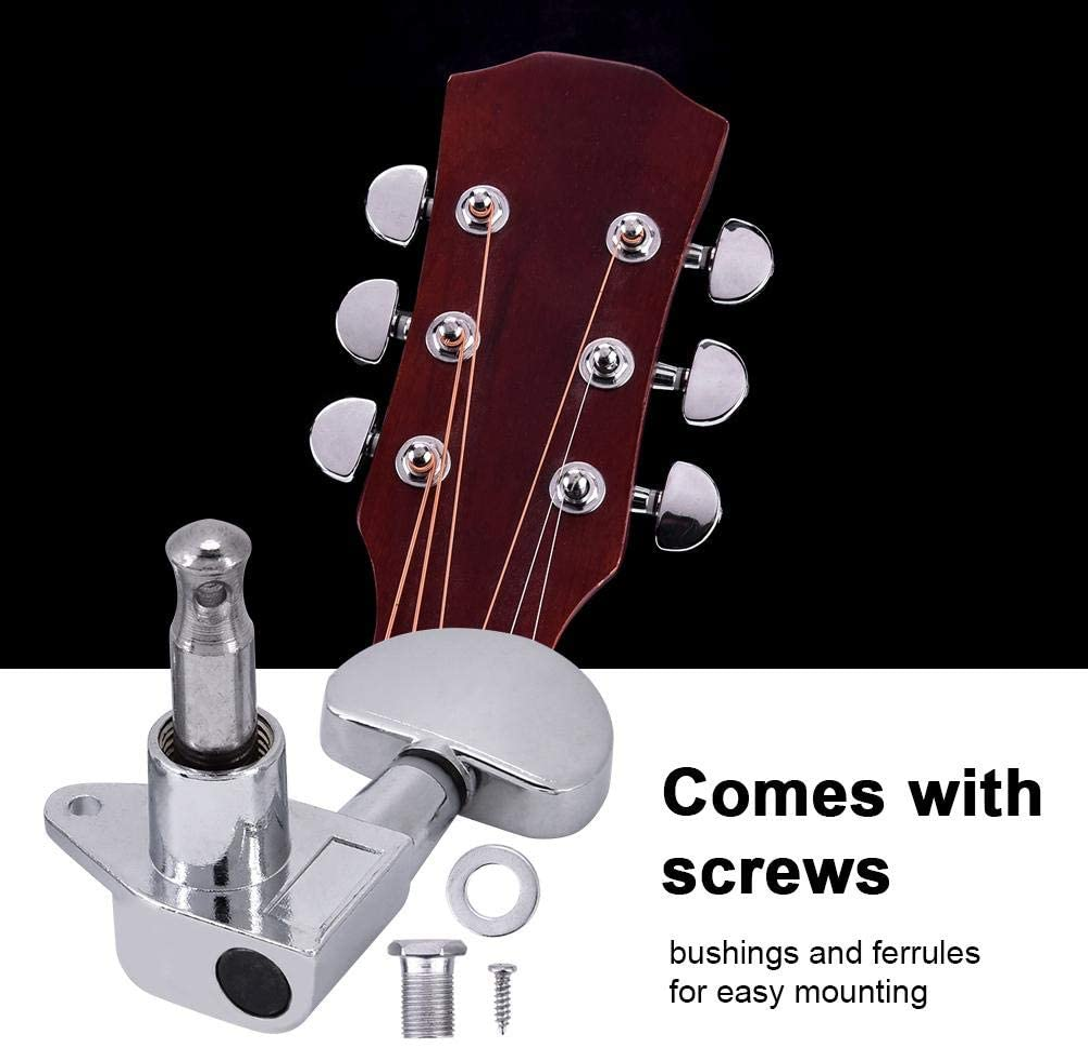 Drfeify Guitar Tuning Pegs,3L3R Guitar Tuning Pegs Locking Tuners Zinc Alloy Machine Heads Silver