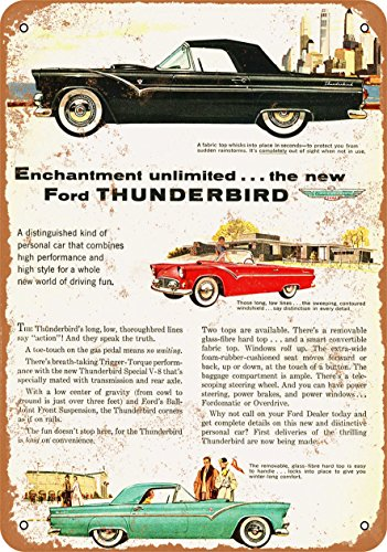 Wall-Color 7 x 10 Metal Sign - 1955 Ford Thunderbird - Vintage Look 3