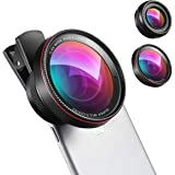 AMIR Phone Camera Lens, 0.6X Super Wide Angle Lens + 15X Macro Lens for iPhone Lens Kit, 2 in 1 Clip-On Cell Phone Camera Lens for iPhone 8, X, 7, 7 Plus, 6s, 6, Samsung, Other Smartphones