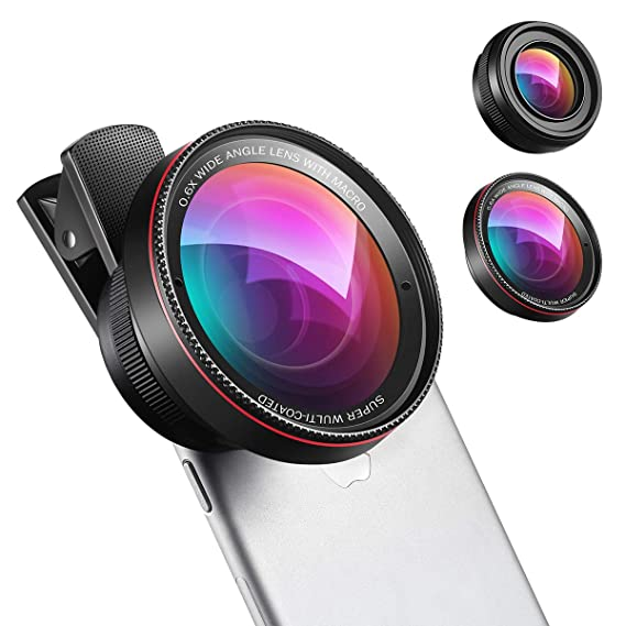 the latest 71c32 7a25d Phone Camera Lens, 0.6X Super Wide Angle Lens, 15X Macro Lens for iPhone  Lens Kit, 2 in 1 Clip-On Cell Phone Camera Lens for iPhone 8, X, 7, 7 Plus,  ...