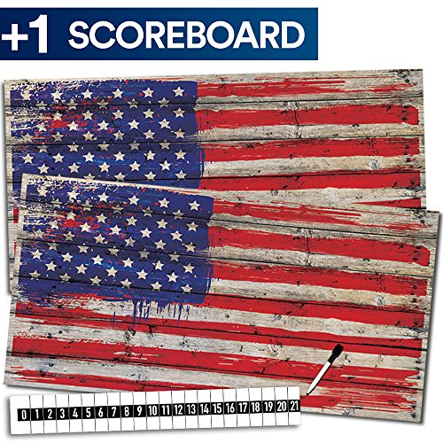 Cornhole Board Skin Wrap Decal - Vinyl Tournament Corn Hole Bean Bag Toss Sticker - Weather Resistant USA Flag Board Game - For Children Adults Colleges Festivals & Bars - 48.5