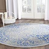 Safavieh Adirondack Collection ADR109A Grey and Blue Round Area Rug, 4 Feet in Diameter