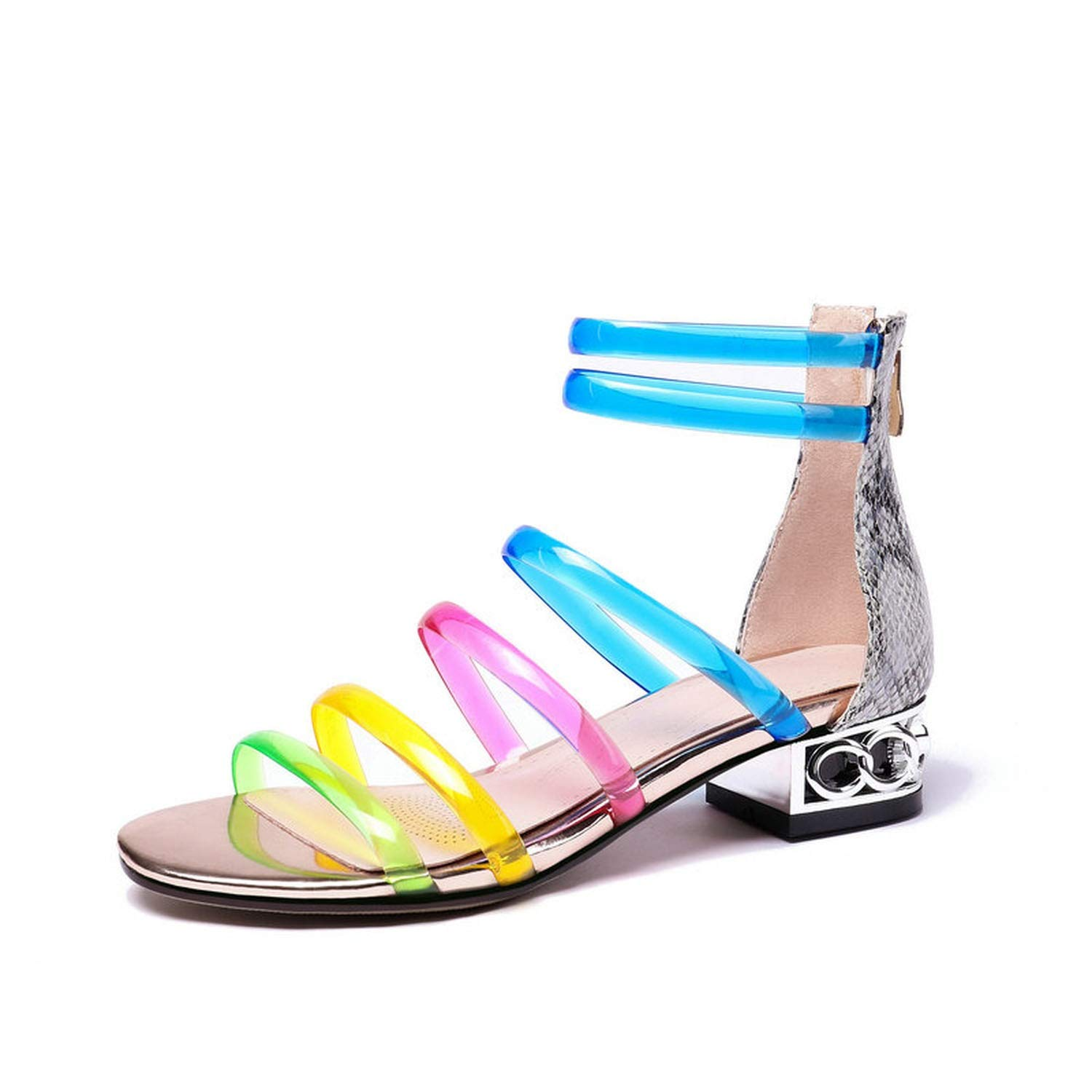 Blue Skieses 2019 Fashion Leather Gladiator Sandals Women Transparent PVC Colors Square Low Heels Summer Shoes