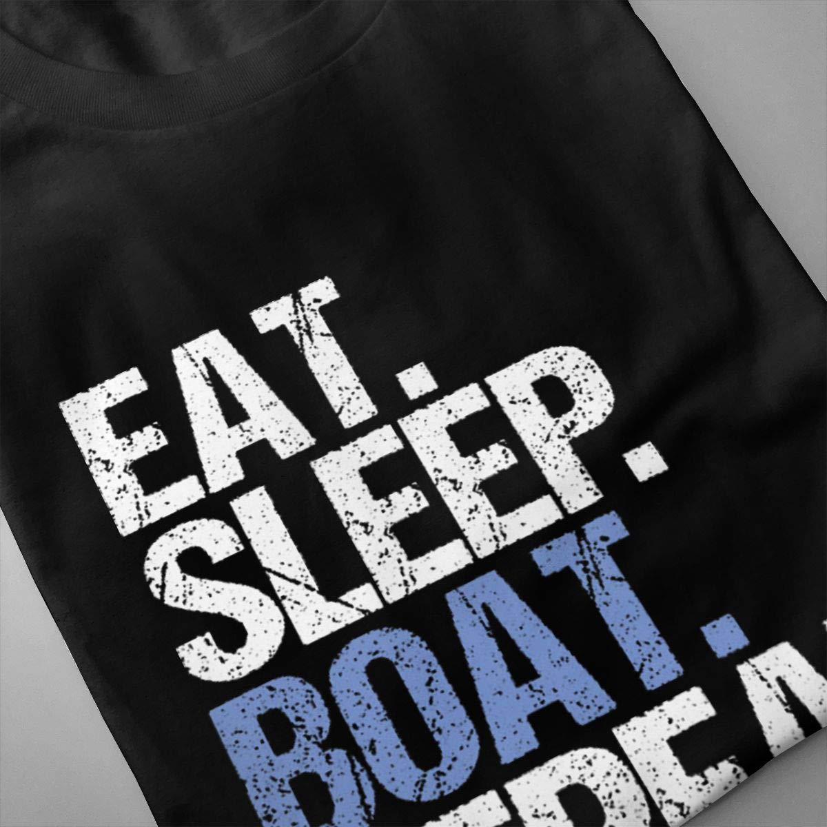 Marsherun Men Eat Sleep Boat Repeat Casual Short Sleeve T-Shirt