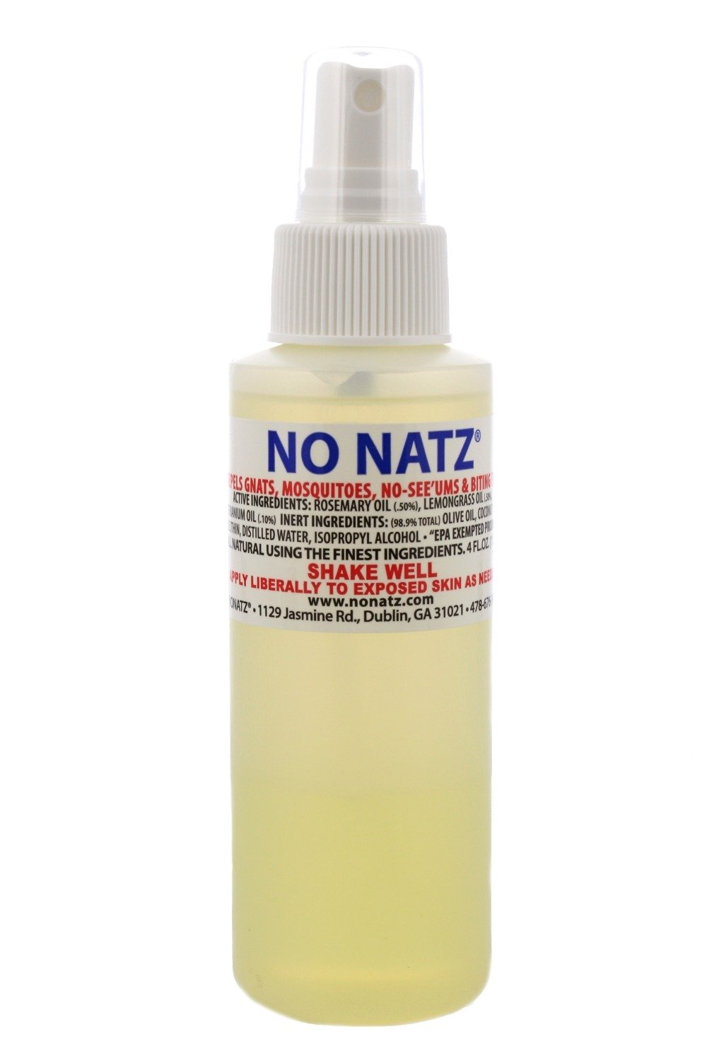 No Natz® Insect and Bug Protection, 4oz Spray, All-Natural and Deet-Free, Hypo-Allergenic and Safe for Pets